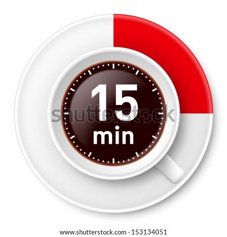 Cup of coffee with time limit for break: fiiteen minutes. Illustration on white background. - stock vector