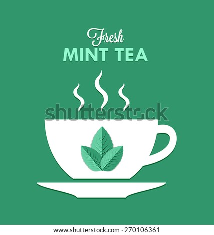 Cup of fresh mint tea isolated on pale green background - stock vector
