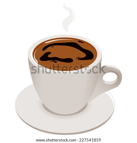 Cup of Greek or Turkish coffee.A hot steamy cup of Greek or Turkish coffee on white background, isolated - stock vector