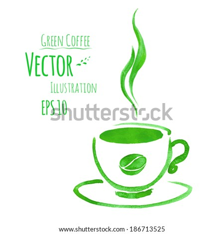Cup of green coffee. Hand drawn watercolor sketch. Vector illustration. isolated. - stock vector