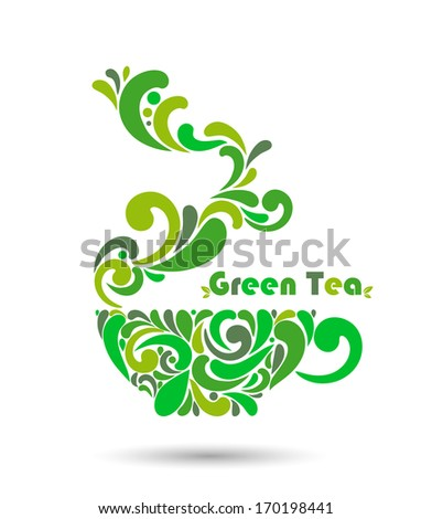 Cup of green tea. vector illustration. - stock vector