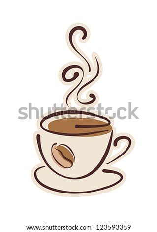 Cup of hot coffee and coffee bean. Vector eps10 illustration. Raster file included in portfolio - stock vector