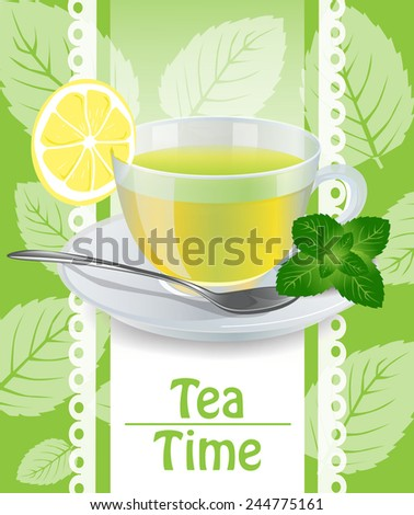 Cup of mint tea on the saucer - stock vector