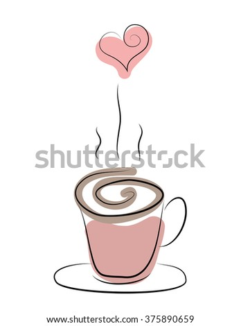 cup of steaming hot coffee, tea or hot chocolate with heart - stock vector