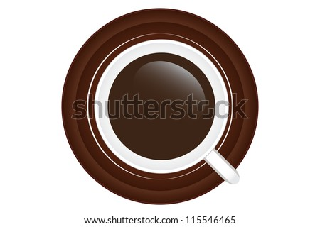 Cup of tasty coffee isolated on a white background - stock vector