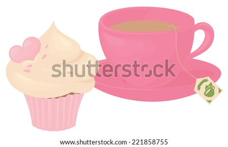 Cup of tea and cupcake., or remove teabag and have a coffee instead.  - stock vector