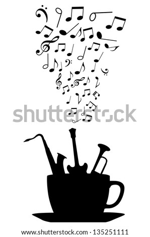 Cup of tea or coffee with musical instruments and notes. Jpeg version also available in gallery - stock vector