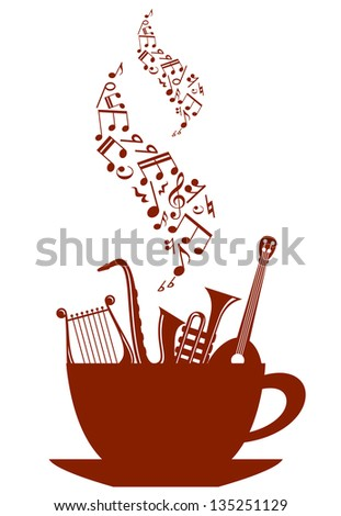Cup of tea or coffee with musical instruments and waves of notes. Jpeg version also available in gallery - stock vector