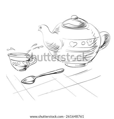 cup of tea teaspoon vector - stock vector
