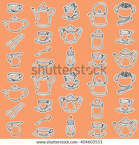 Cup, pot, tableware hand drawn orange pattern