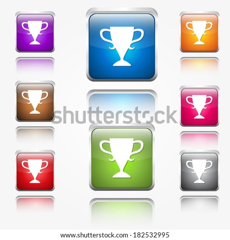 Cup Round Corner Vector Web Icon Button Set