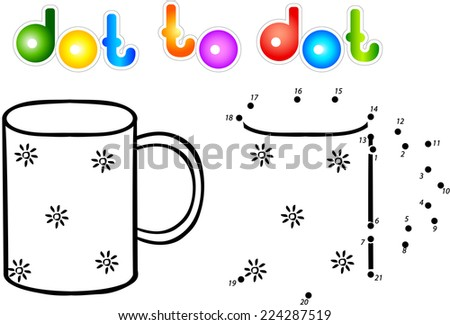 Cup second dot to dot coloring book. Vector illustration for children - stock vector