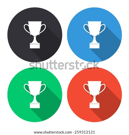 cup vector icon - colored(gray, blue, green, red) round buttons with long shadow - stock vector