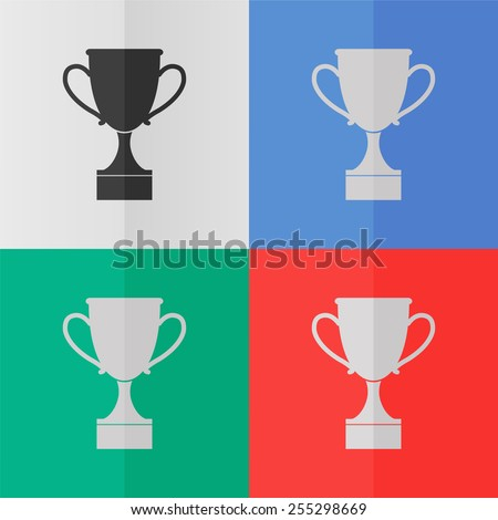 Cup vector icon. Effect of folded paper. Colored (red, blue, green) illustrations. Flat design - stock vector