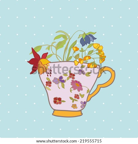 Cup with flowers in retro style. Illustration for greeting cards, invitations, and other printing projects. - stock vector