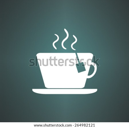 cup with the hot tea. Vector icon - stock vector