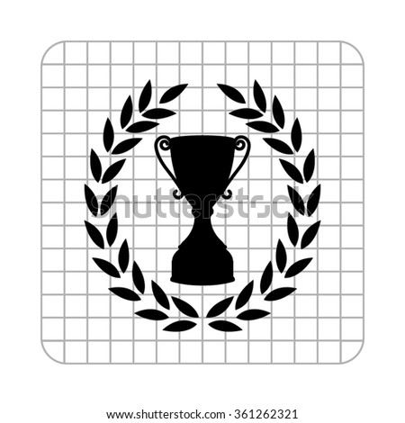 Cup with wreath  - black vector icon