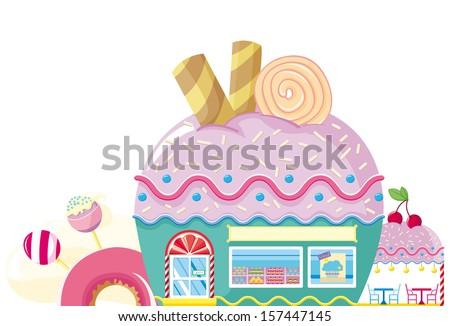 cupcake bakery - stock vector