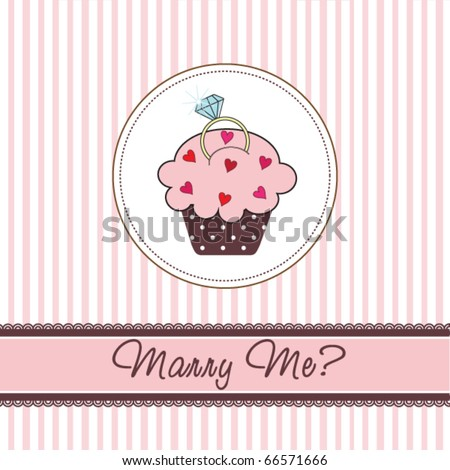 Cupcake card with a ring - stock vector