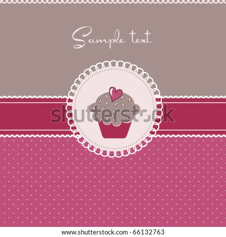 Cupcake card with heart - stock vector
