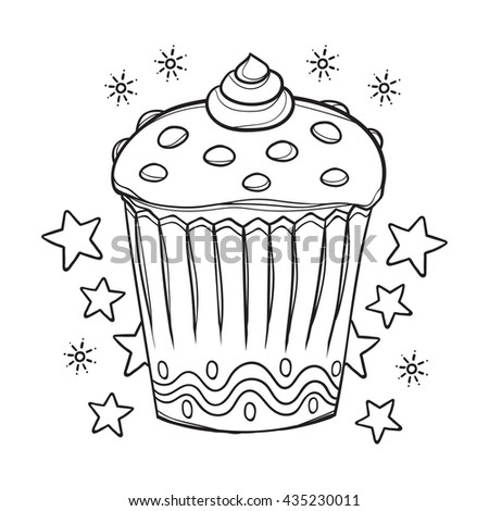Cupcake Coloring Book Illustration Stock Vector 435230011 - Shutterstock