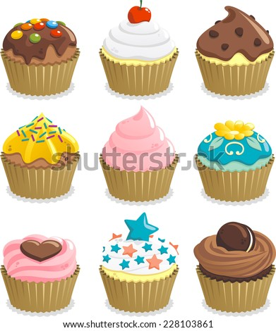 Cupcake cup cake icon set, with nine cupcakes with different topping vector illustration. - stock vector
