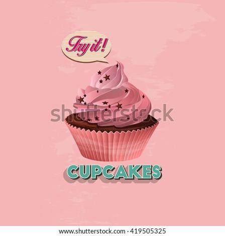 Cupcake, detailed vector - stock vector