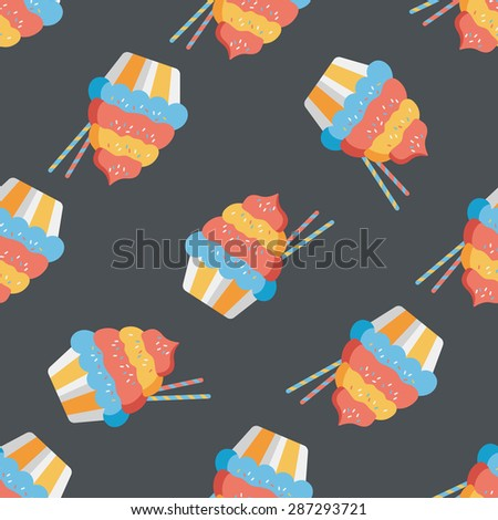 cupcake flat icon,eps10 seamless pattern background - stock vector