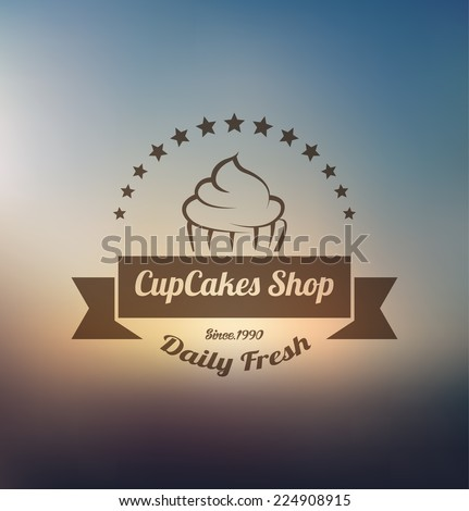 Cupcake food label over blurred background - stock vector
