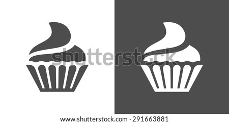 Cupcake icon. Two-tone version of cupcake vector icon on white and black background. Small cake designed to serve one person. - stock vector