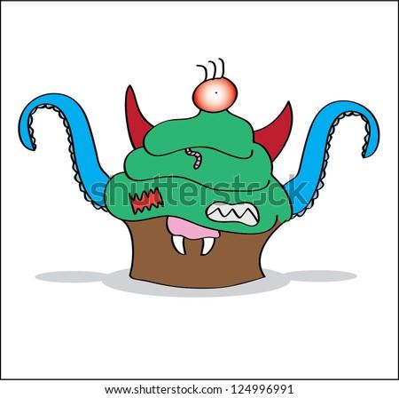 Cupcake monster - stock vector