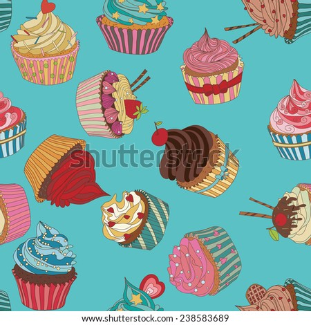 Cupcake pattern. Seamless Sweet food texture. Use as a pattern fill - stock vector