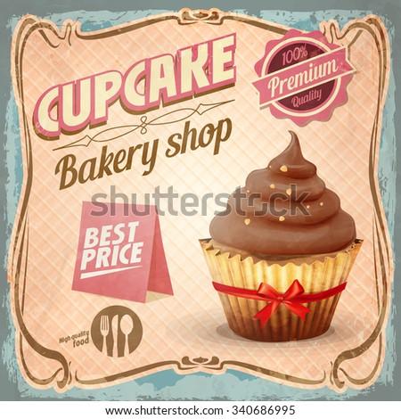 cupcake ribbon - stock vector