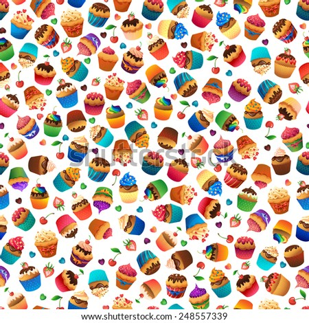 Cupcake seamless pattern. Chocolate cherry vanilla desserts hearts marmalade   - stock vector