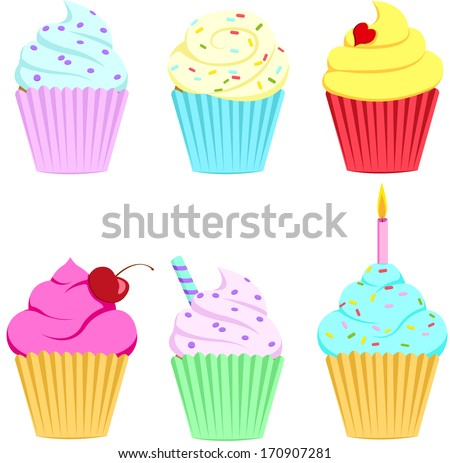 cupcake-set - stock vector