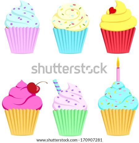 cupcake-set - stock vector