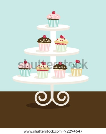 Cupcake Stand - stock vector