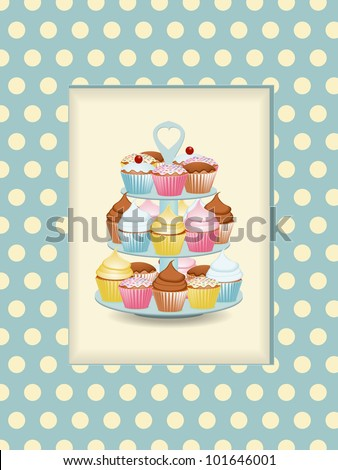 cupcake stand on a vintage polka dot background with cut out window