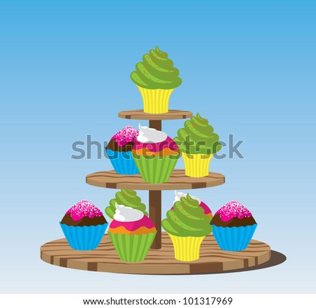 Cupcake stand with three types of cupcakes - stock vector