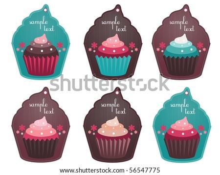 cupcake tags - stock vector