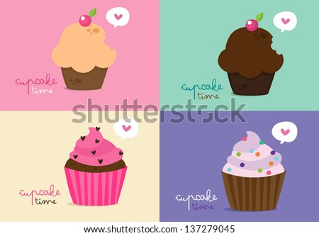 Cupcake Time - stock vector