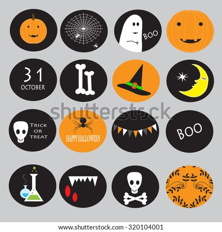 Cupcake toppers for Halloween - stock vector