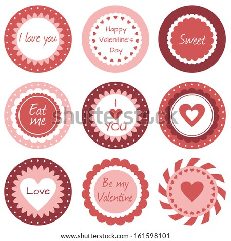 Cupcake toppers for Valentine's Day - stock vector