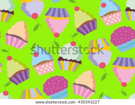 cupcake vector pattern happy birthday cupcake stock vector 430343227