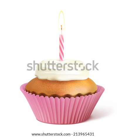 Cupcake with candle isolated on white background. Vector illustration. Transparent shadow - stock vector
