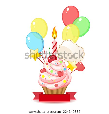 cupcake with candles and balloons