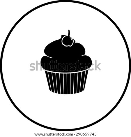 cupcake with cherry symbol - stock vector
