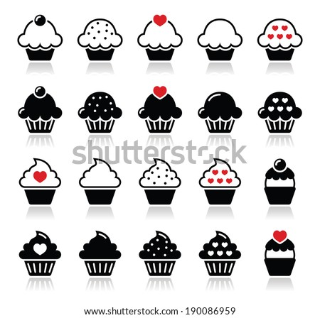 Cupcake with heart, cherry and sparkles icons set  - stock vector