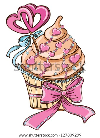 Cupcake with hearts - stock vector