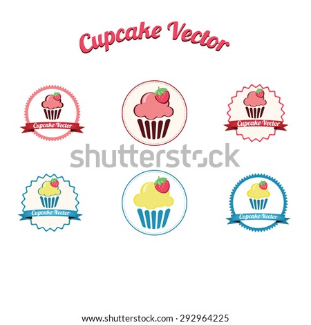 Cupcake yummy pink retro bakery logo badges and labels / Vintage retro cupcake logo / Cupcake set vector - stock vector